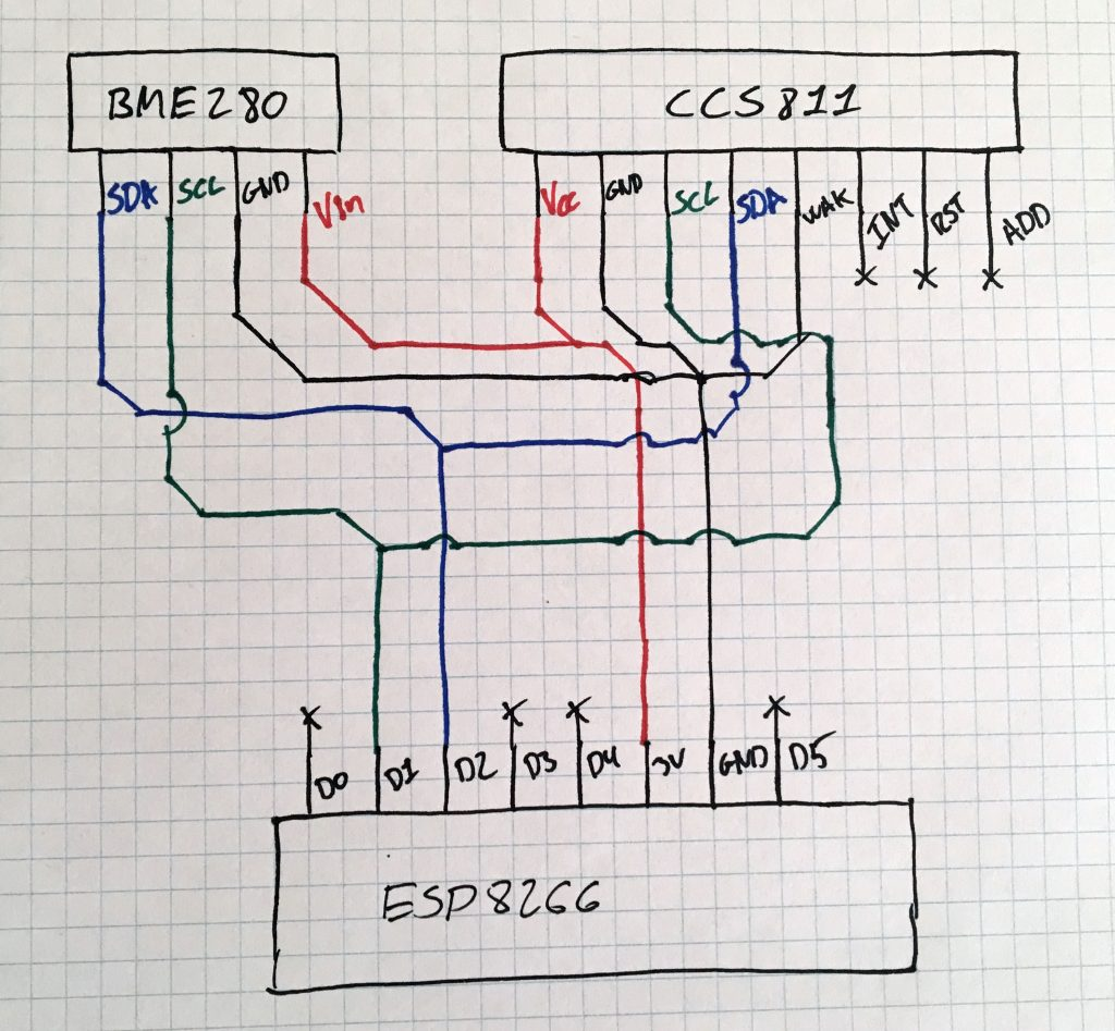ESP8266, BME280, CCS811 design